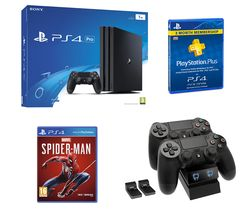 SONY PlayStation 4 Pro, Spider-Man, Twin Docking Station & PlayStation Plus Bundle