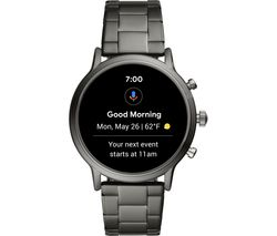 Image of FOSSIL Carlyle HR FTW4024 Smartwatch - Smoke, Stainless Steel Strap