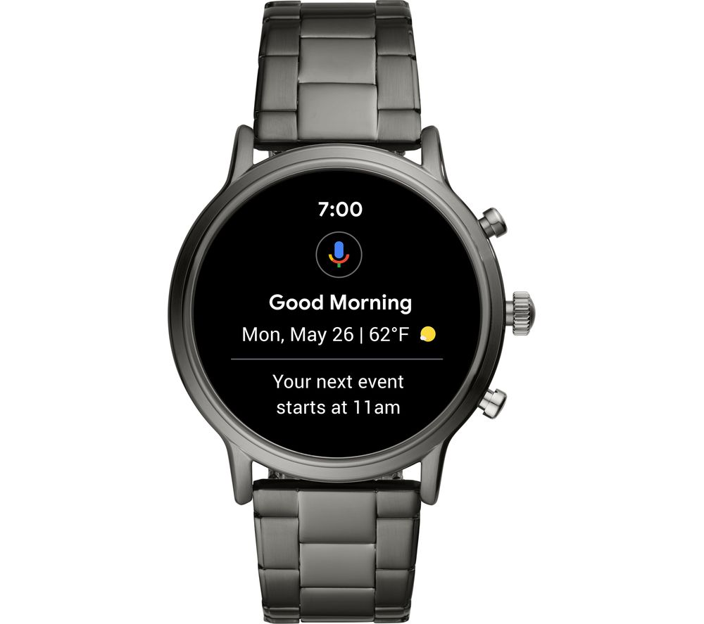FOSSIL Carlyle HR FTW4024 Smartwatch - Smoke, Stainless Steel Strap