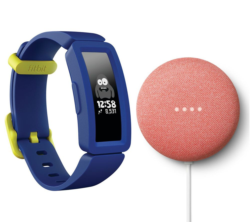 FITBIT Ace 2 Kids Fitness Tracker & Nest Mini (2nd Gen) Coral Bundle - Blue & Yellow, Coral