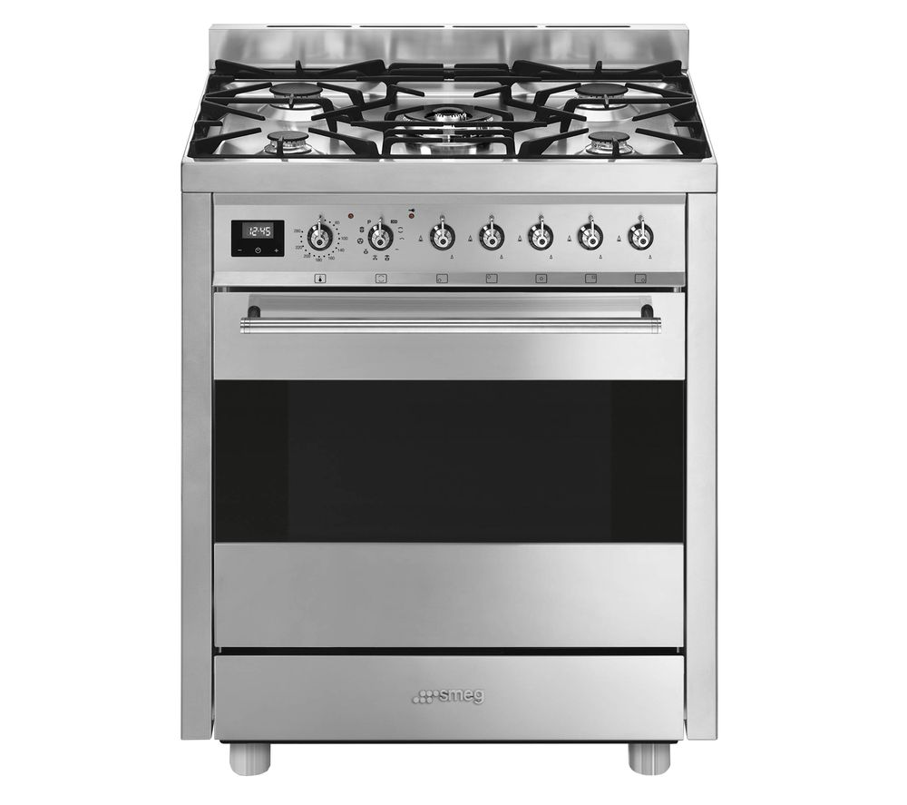 SMEG Symphony C7GPX9 70 cm Dual Fuel Cooker - Stainless Steel