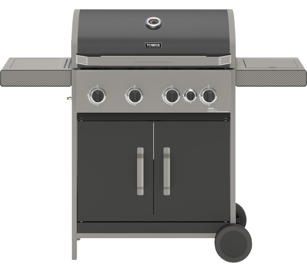 TOWER Stealth 4000 T978502 Portable 4 Burner Grill Gas BBQ - Black