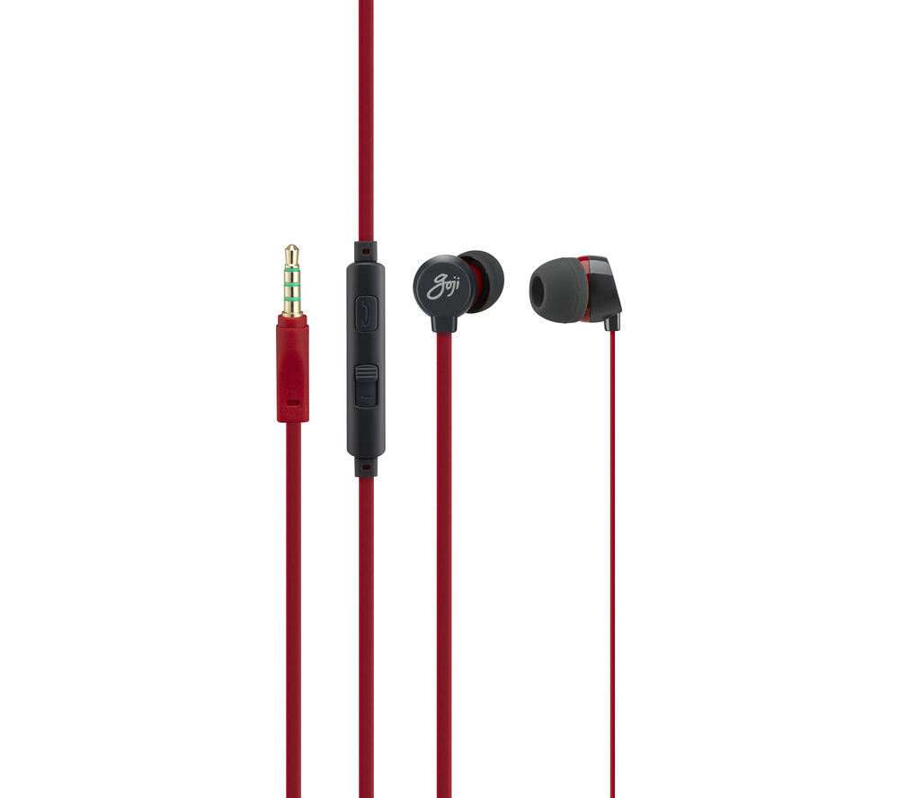 GOJI Berries 2.0 Headphones - Raspberry + iPhone 7 Lightning to 3.5 mm Headphone Jack Adapter
