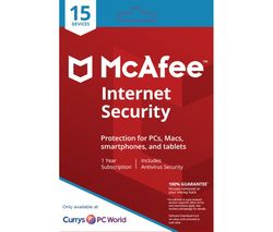 MCAFEE Internet Security 2018 - 1 year for 15 devices