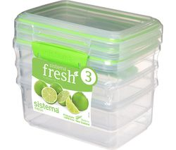 SISTEMA Fresh Rectangular 1 litre Containers - Green, Pack of 3