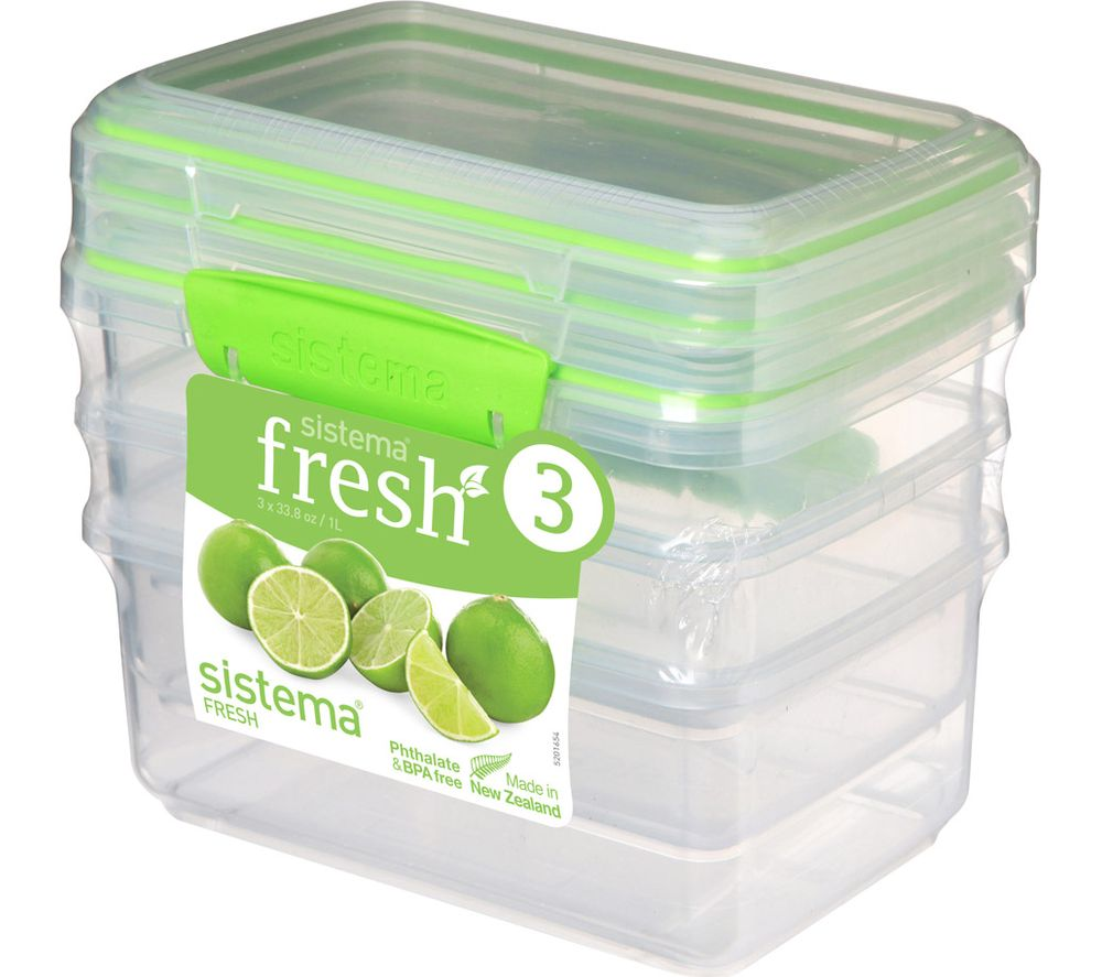 Compare prices for Sistema Fresh Rectangular 1 litre Containers Pack of 3