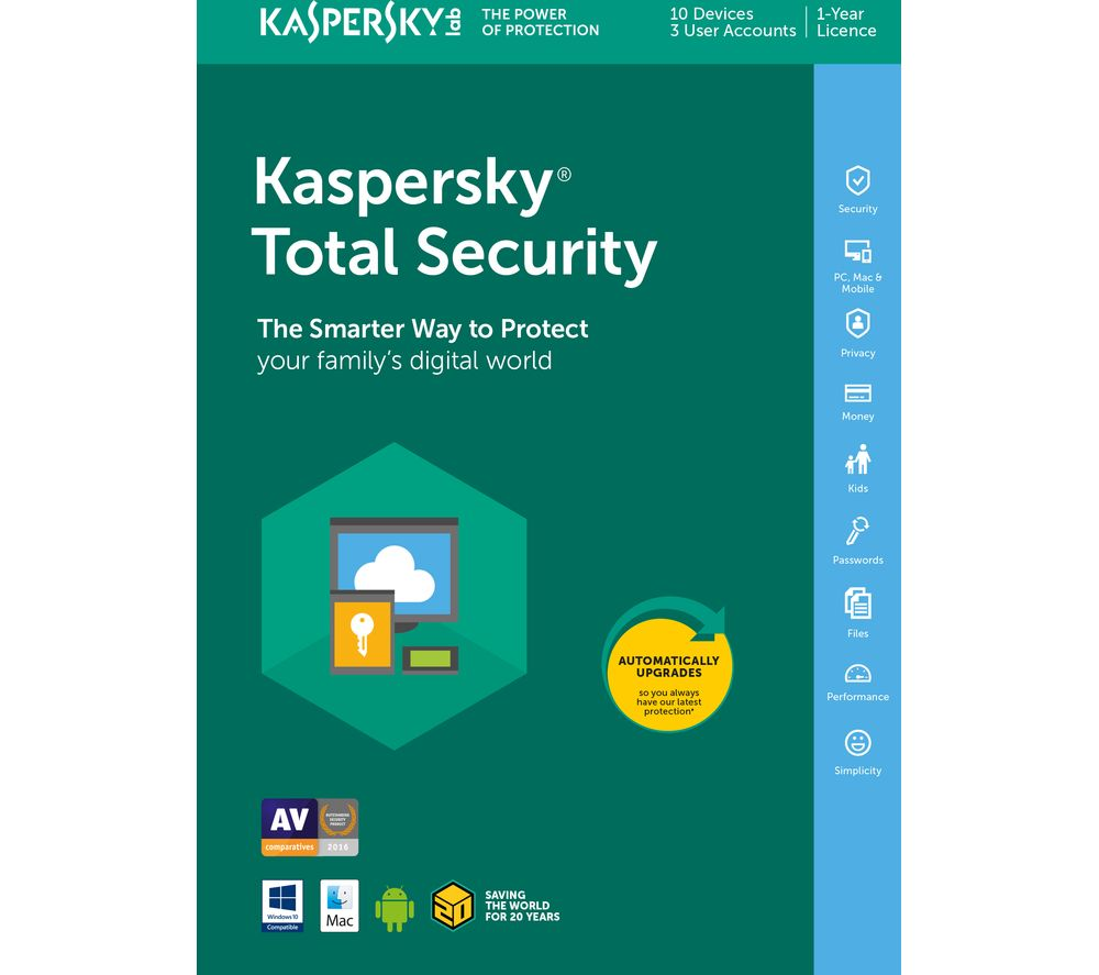 Compare retail prices of Kaspersky Total Security 2018 1 year for 10 devices to get the best deal online