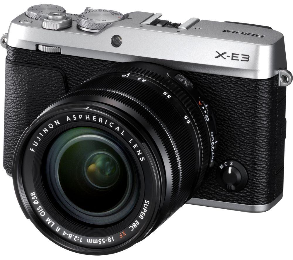 FUJIFILM X-E3 Mirrorless Camera with XF 18-55 mm f/2.8-4 R LM IOS Lens - Silver