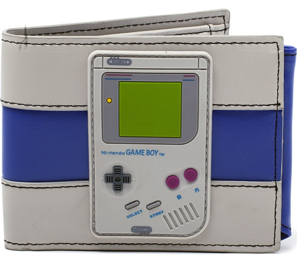 NINTENDO Game Boy Rubber Badge Bifold Wallet - Grey & Blue