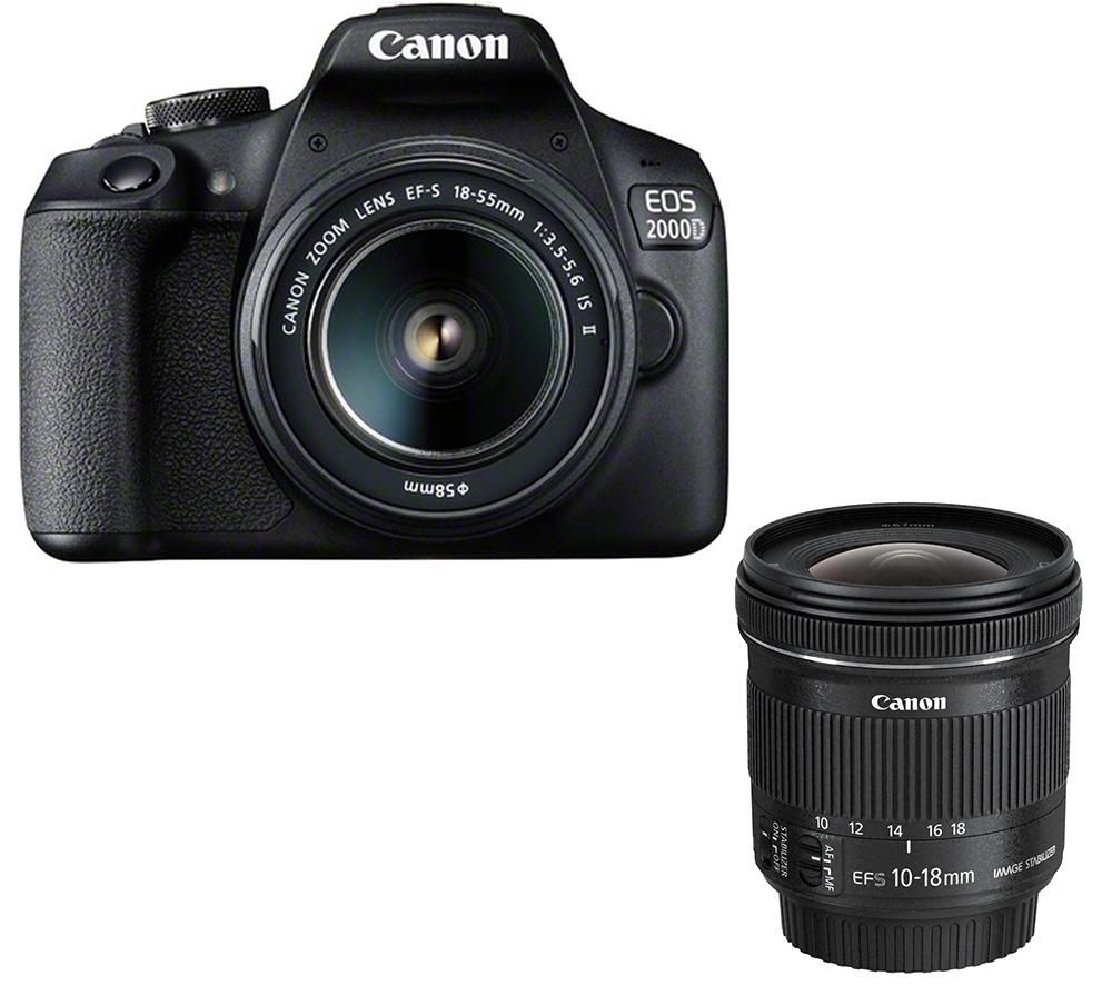 CANON EOS 2000D DSLR Camera, EF-S 18-55 mm f/3.5-5.6 IS II Lens & EF-S 10-18 mm f/4.5-5.6 IS STM Wide-angle Zoom Lens Bundle