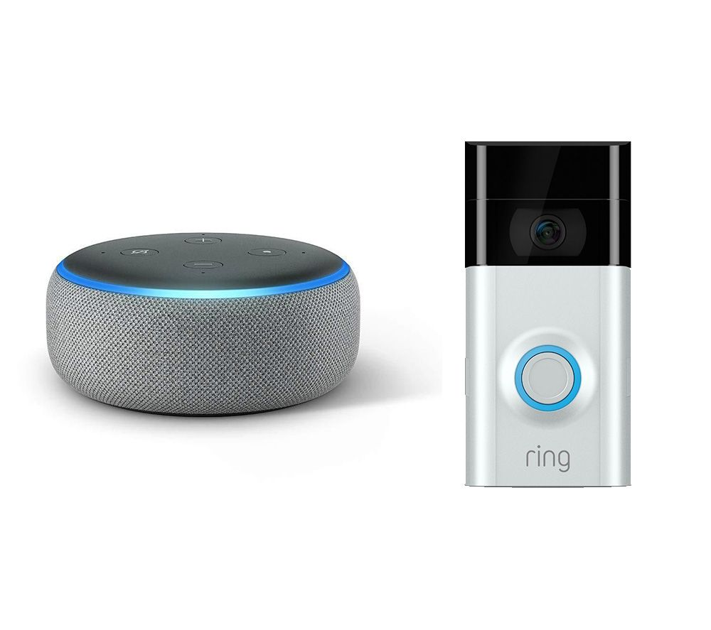 RING Video Doorbell 2 & Echo Dot (2018) Bundle - Heather Grey