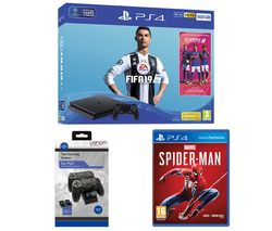SONY PlayStation 4 500 GB, FIFA 19, Marvel's Spider-Man & Twin Docking Station Bundle
