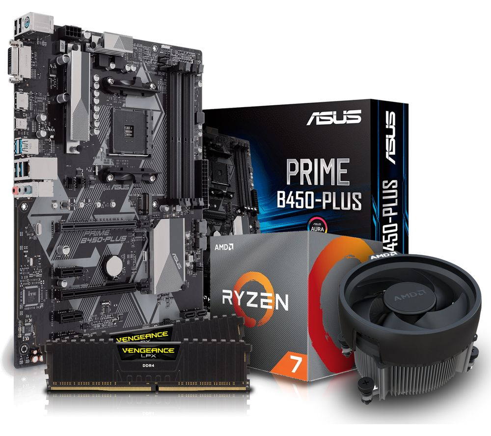 PC SPECIALIST AMD Ryzen 7 Processor, PRIME B450M PLUS Motherboard, 16 GB RAM & AMD Cooler Components Bundle