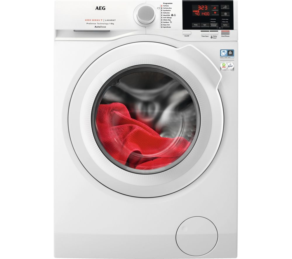 AEG AutoDose 6000 Series L6FBG841CA WiFi-enabled 8 kg 1400 Spin Washing Machine - White