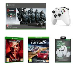 MICROSOFT Xbox One X with Gears 5, Tekken 7, Project Cars 2, Wireless Controller & Twin Docking Station Bundle