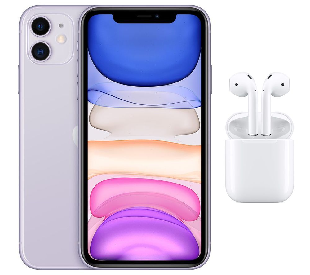 APPLE iPhone 11 & AirPods with Charging Case (2nd generation) Bundle - 128 GB, Purple, Purple