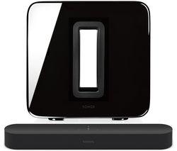 SONOS Beam Compact Sound Bar with Amazon Alexa & Google Assistant & SUB Wireless Subwoofer Bundle - Black