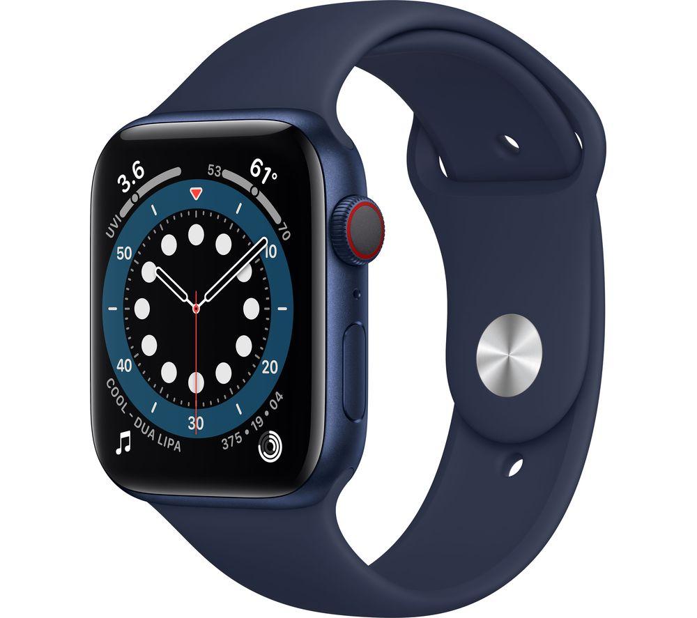 APPLE Watch Series 6 Cellular - Blue Aluminium with Deep Navy Sports Band, 44 mm