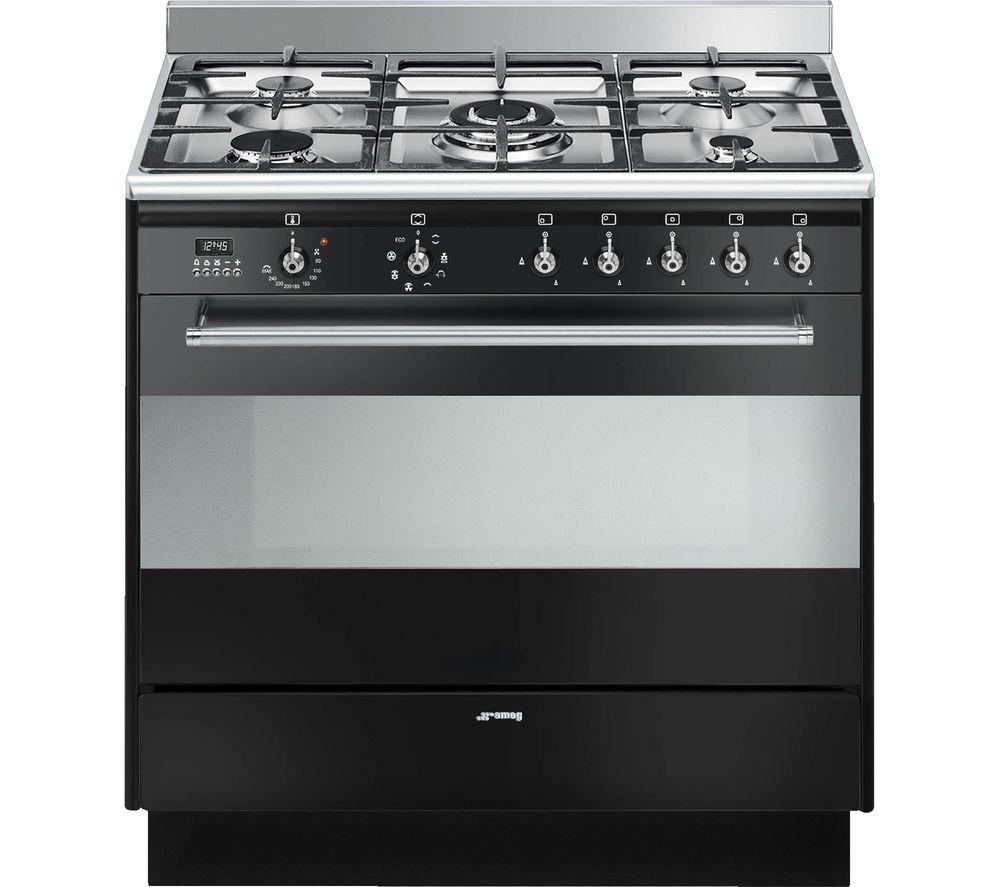 SMEG SUK91MBL9 Concert 90 cm Dual Fuel Range Cooker - Gloss Black