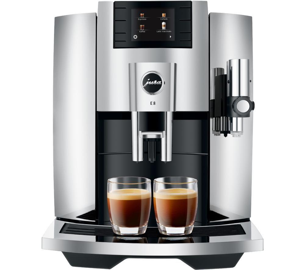 JURA E8 15363 Smart Bean to Cup Coffee Machine - Chrome Silver, Silver