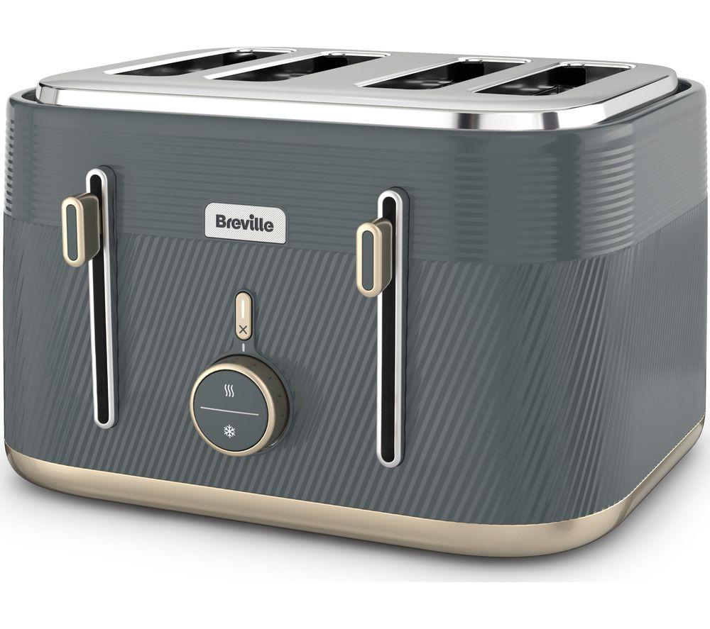 BREVILLE Obliq VTT972 4-Slice Toaster - Grey & Gold, Grey
