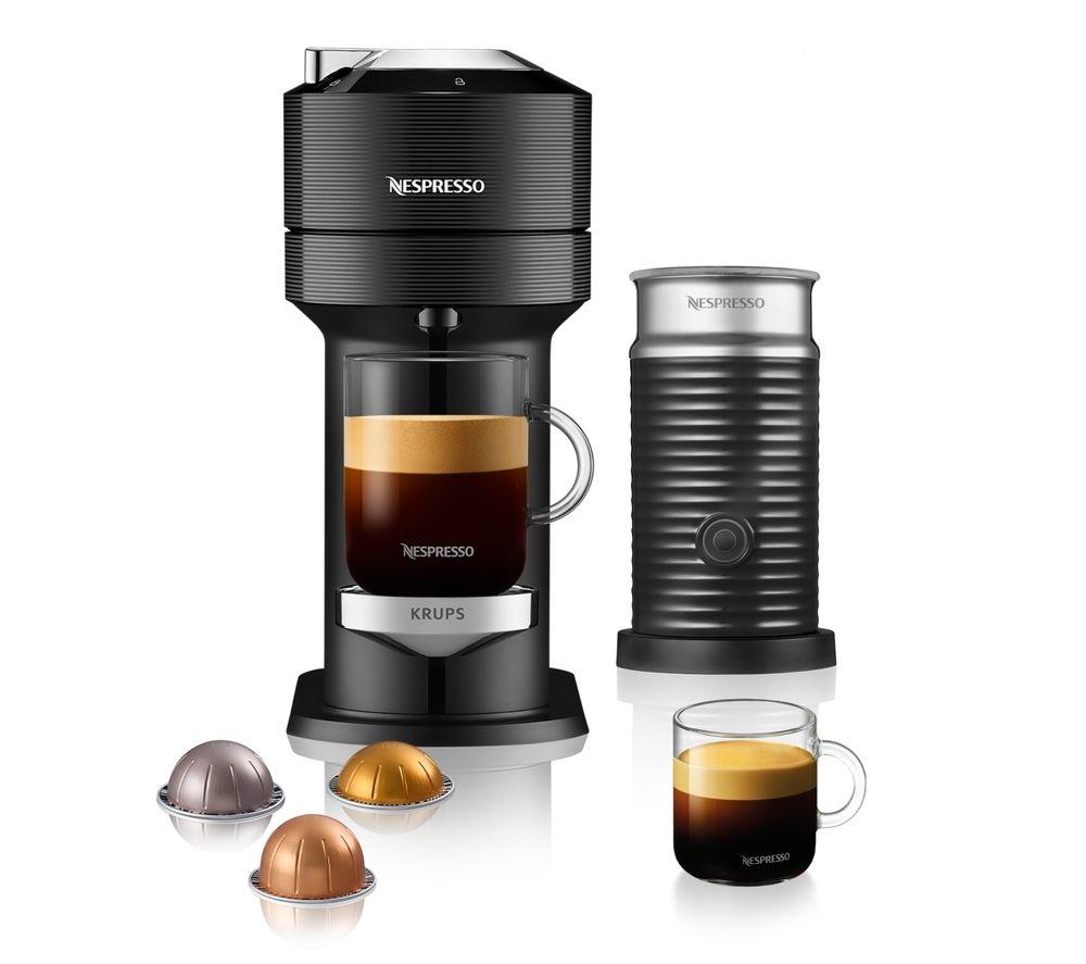 NESPRESSO by KRUPS Vertuo Next XN911840 Coffee Machine with Aeroccino - Black, Black