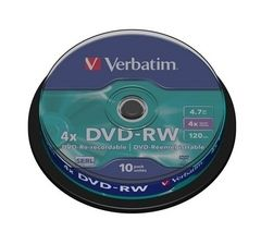 VERBATIM 4x Speed DVD-RW Blank DVDs - Pack of 10