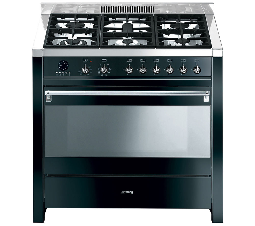 Image of SMEG Opera 90 Dual Fuel Range Cooker - Black & Stainless Steel, Stainless Steel
