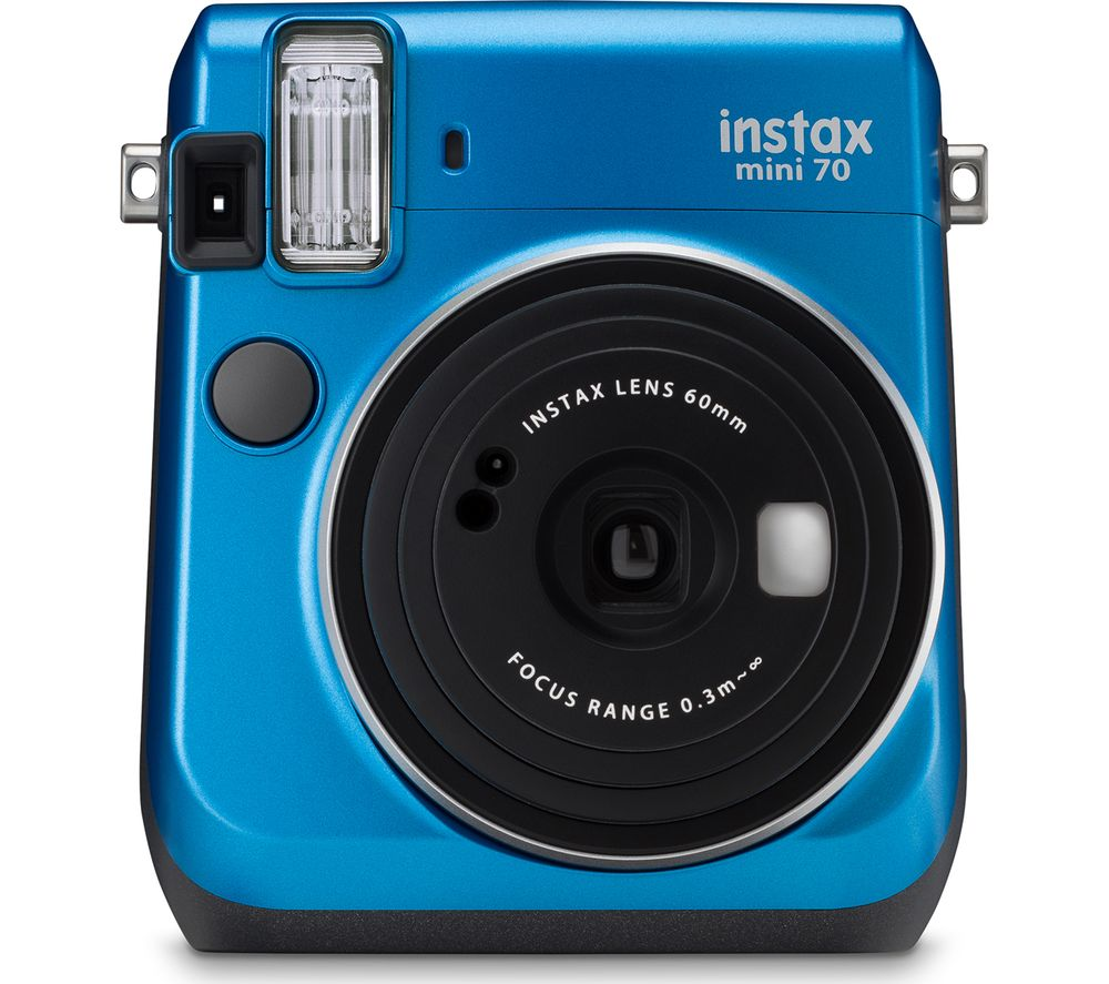 INSTAX Mini 70 Instant Camera - Blue + Format 120 LP36510 Compact Camera Bag - Black
