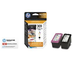 HP 301 Instant Ink Tri-colour & Black Ink Cartridges - Multipack