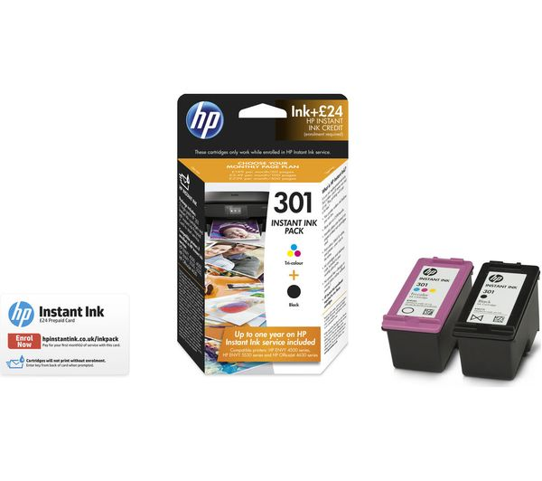 hp 301 instant ink tri colour black ink cartridges multipack. Black Bedroom Furniture Sets. Home Design Ideas