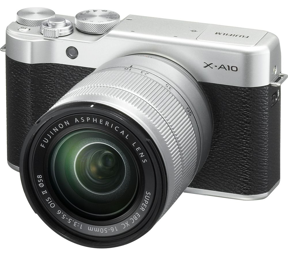 FUJIFILM X-A10 Mirrorless Camera with 16-50 mm f/3.5-5.6 Lens - Silver