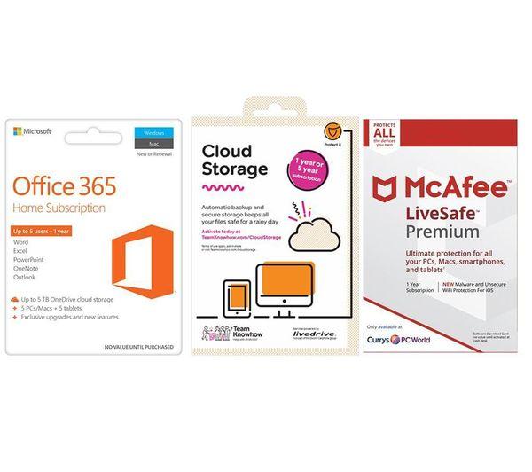 MCAFEE Office 365 Home, 2 TB Cloud Storage & LiveSafe Premium Unlimited Bundle