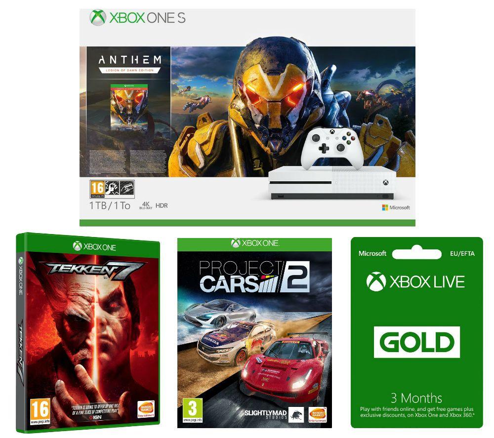 MICROSOFT Xbox One S, Anthem, Tekken 7, Project Cars 2 & 3 Months LIVE Gold Membership Bundle