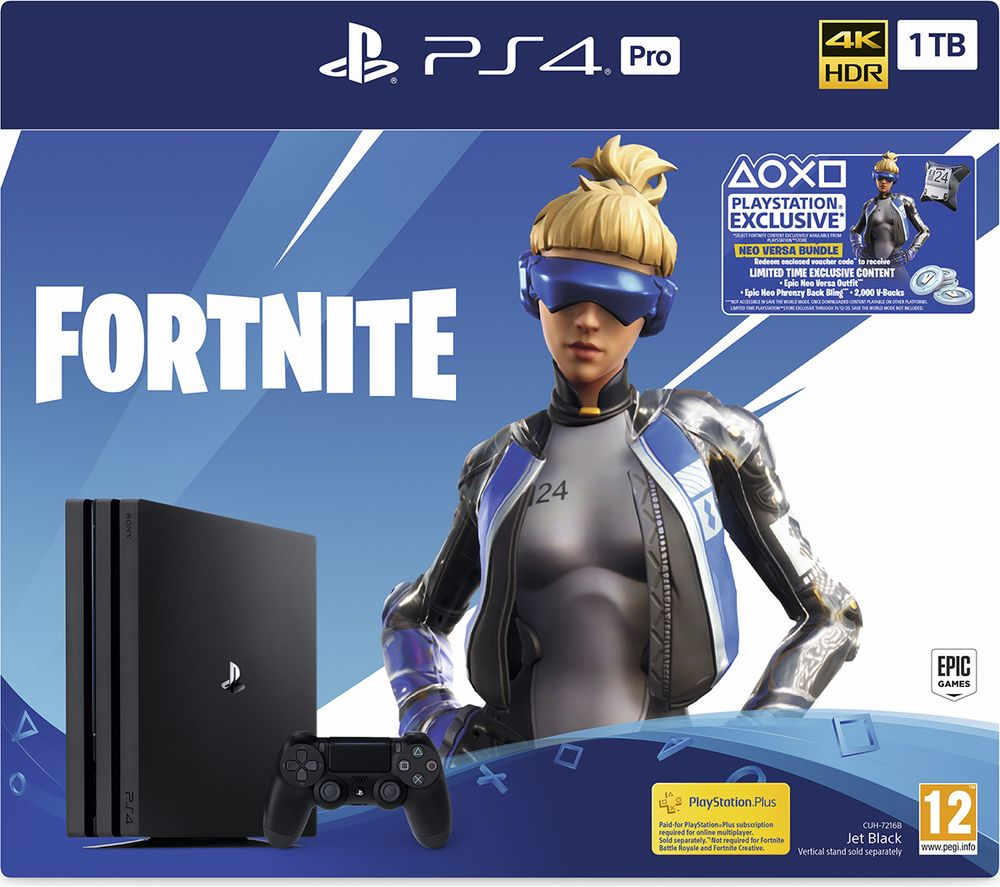 SONY PlayStation 4 Pro with Fortnite Neo Versa Bundle - 1 TB, Black