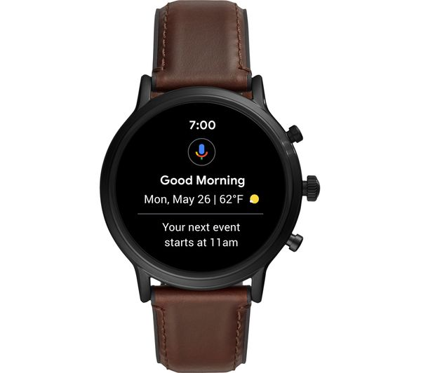 Image of FOSSIL Carlyle HR FTW4026 Smartwatch - Brown, Leather Strap