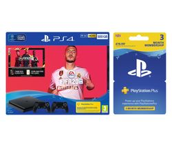 SONY Playstation 4 with FIFA 20, Two Wireless Controllers & Playstation Plus Bundle - 500 GB