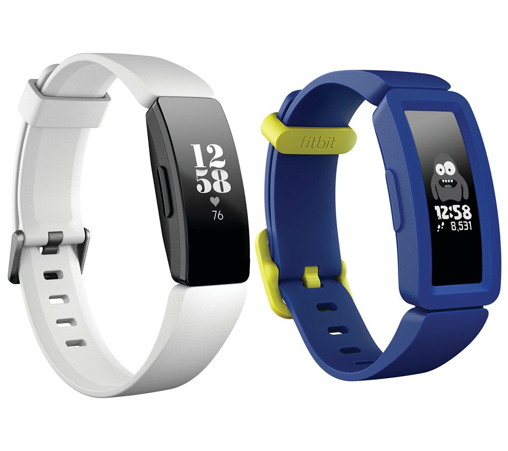 FITBIT Inspire HR Fitness Tracker & Ace 2 Kid's Fitness Tracker Bundle - White & Blue