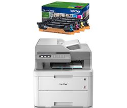 BROTHER DCPL3550CDW All-in-One Wireless Laser Printer & TN243CMYK Toner Cartridges Bundle