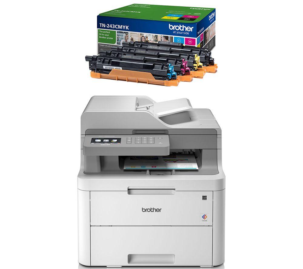 BROTHER DCPL3550CDW All-in-One Wireless Laser Printer & TN243CMYK Toner Cartridges Bundle, Cyan
