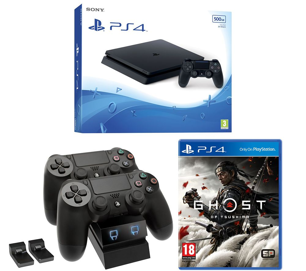 SONY PlayStation 4, Ghost of Tsushima & Twin Docking Station Bundle - 500 GB, Red