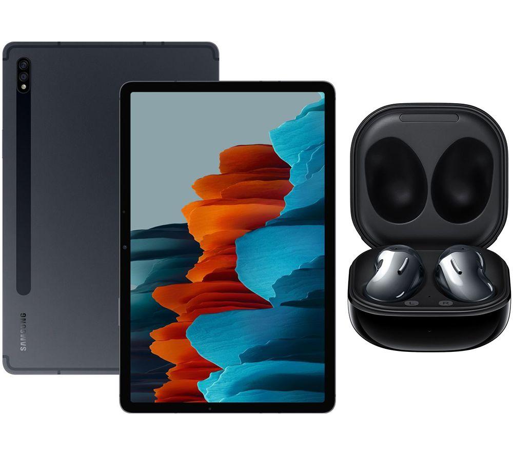 "Image of SAMSUNG Galaxy Tab S7 11"" Tablet & Black Galaxy Buds Live Bundle, Black"
