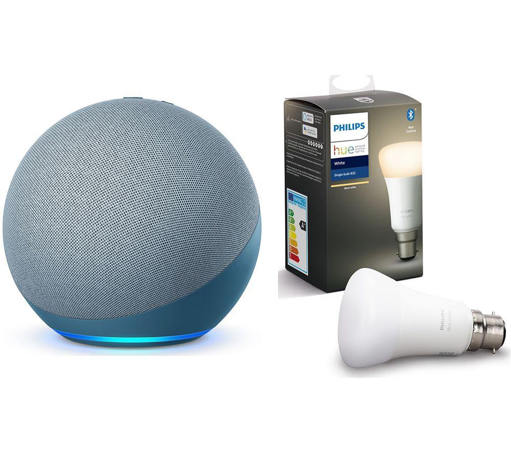 PHILIPS Echo (4th Gen) & B22 Hue White Bluetooth LED Bulb - Twilight Blue