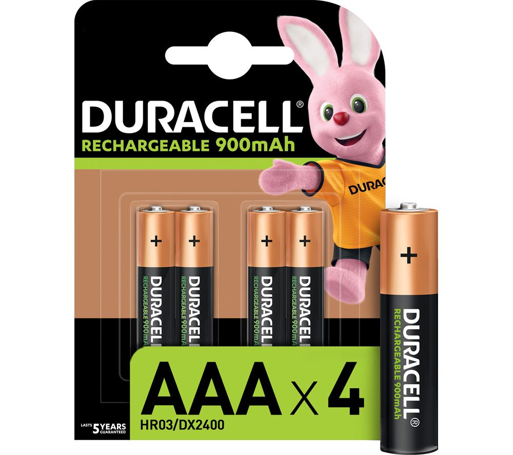 DURACELL HR03/DX2400 Stay Charged AAA Rechargeable Batteries - Pack of 4