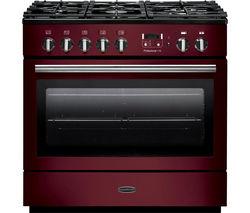 RANGEMASTER Professional+ FX 90 Dual Fuel Range Cooker - Cranberry & Chrome