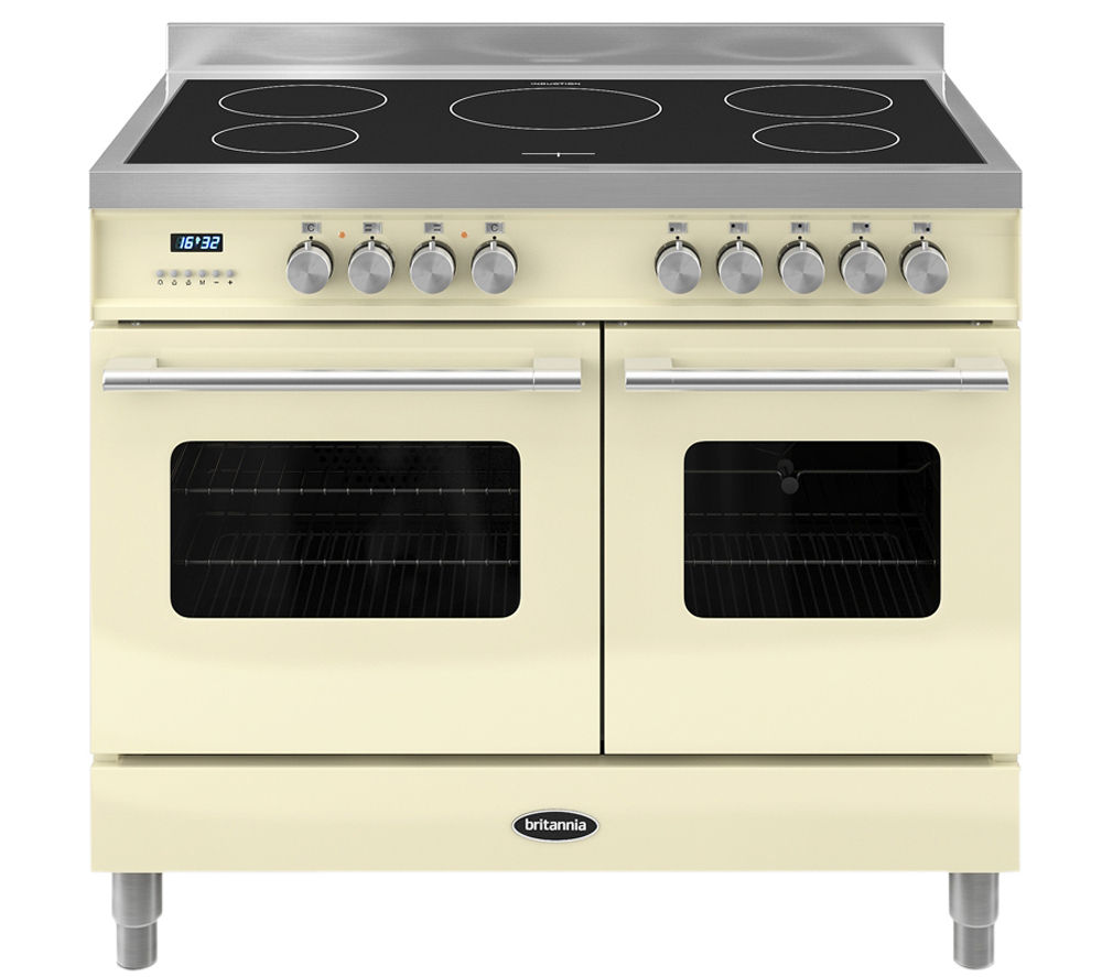 Image of BRITANNIA Delphi 100 Twin Electric Induction Range Cooker - Gloss Cream & Stainless Steel, Stainless Steel