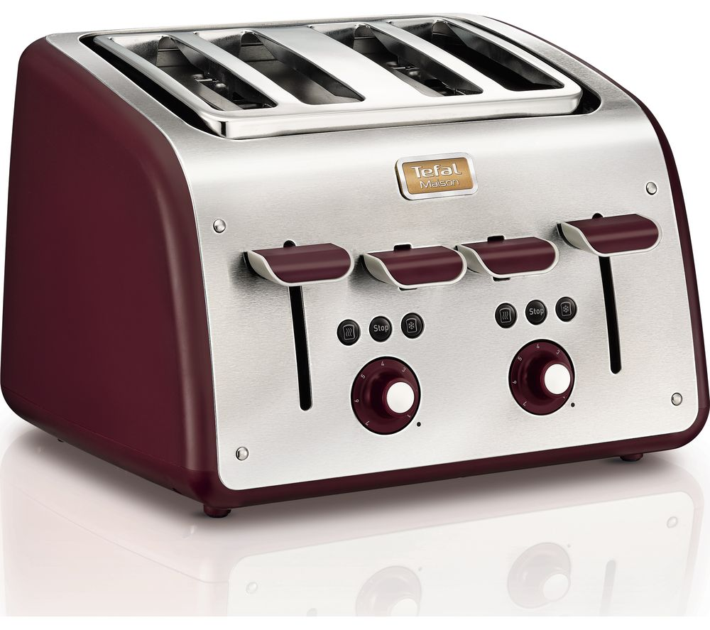 TEFAL Maison TT7705UK 4-Slice Toaster - Stainless Steel & Pomegranate Red