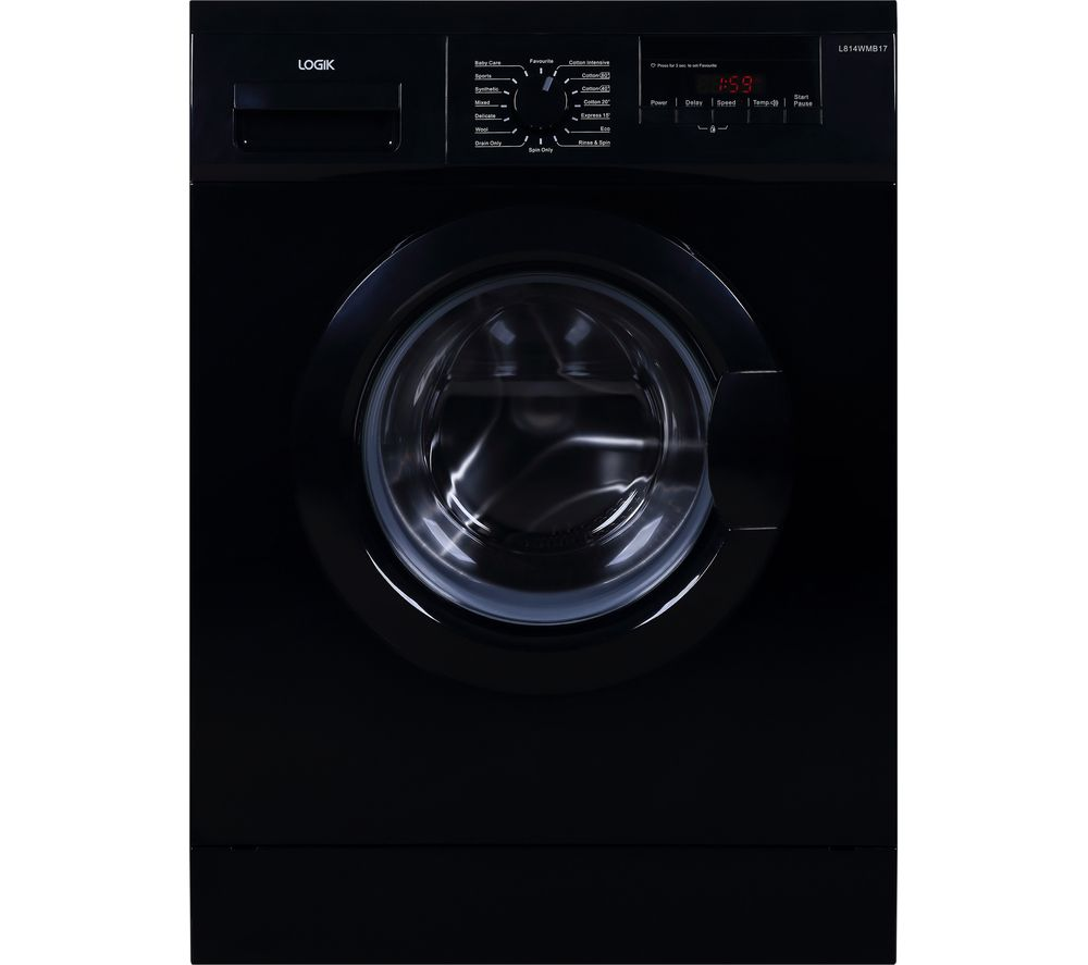 Logik L814WMB17 8 kg 1400 Spin Washing Machine - Black, Black