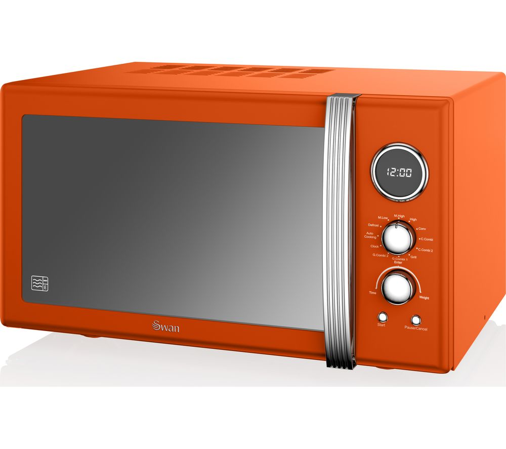 SWAN SM22080ON Retro Microwave with Grill - Orange