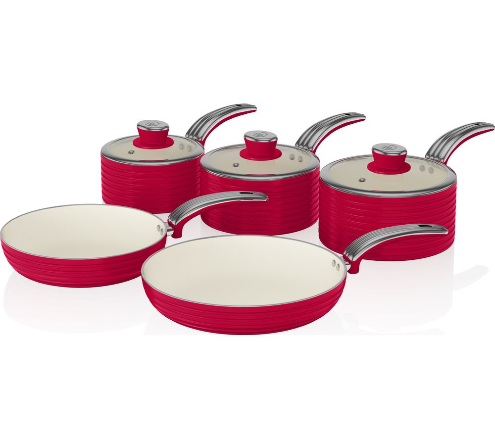 SWAN Retro SWPS5020RN 5-piece Non-Stick Pan Set - Red